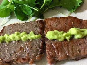 藤崎わさび園のわさびと白老牛のステーキ