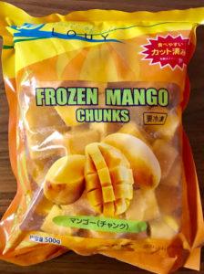 業務スーパーの冷凍フルーツのマンゴーの袋の表面