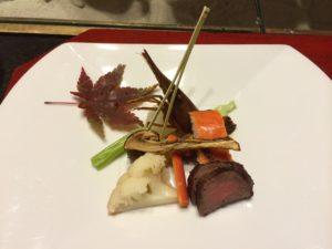 あかん鶴雅別荘鄙の座の夕食の蝦夷鹿肉のたたき