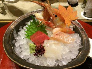 あかん鶴雅別荘鄙の座の夕食の刺身5種盛