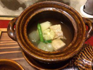 あかん鶴雅別荘鄙の座の夕食の松葉銀杏
