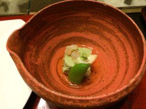 あかん鶴雅別荘鄙の座の夕食の大豆豆腐熊笹風味海老あられ